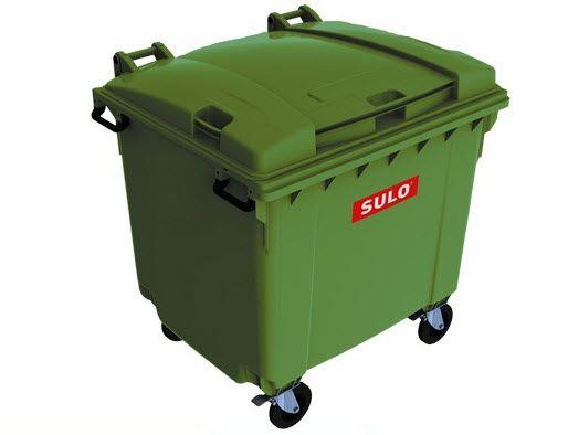 ถังขยะพร้อมล้อเข็น 1100 ลิตรรุ่นฝาเรียบ สีเขียว