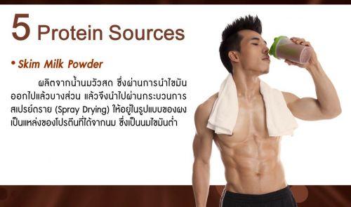 skim milk powder จากนมวัวสด แหล่งโปรตีนที่ได้จากนม นมไขมันต่ำ