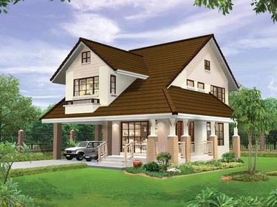 รับสร้างบ้าน สร้างบ้าน แบบบ้านอเมริกันคันทรี American Country Style อุ่นใจ บิลเดอร์ บิวเดอร์