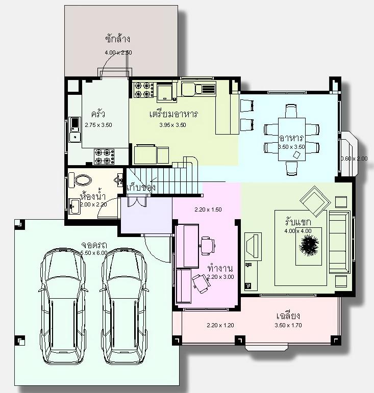 แบบแปลนพื้นชั้นล่าง รับสร้างบ้าน 2 ชั้น บ้านสวย ห้องทำงาน จอดรถ 2 คัน