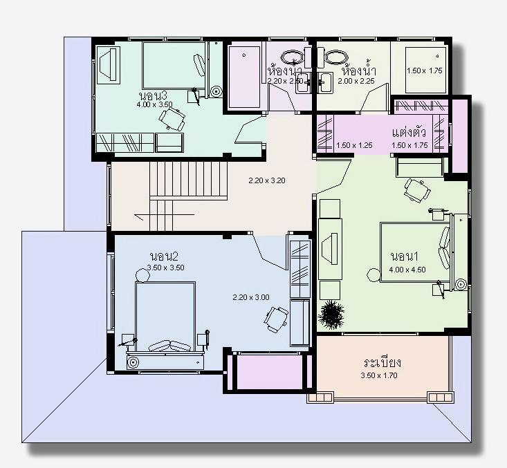 แบบแปลนพื้นชั้น 2 ห้องนอนใหญ่ 3 ห้องนอน