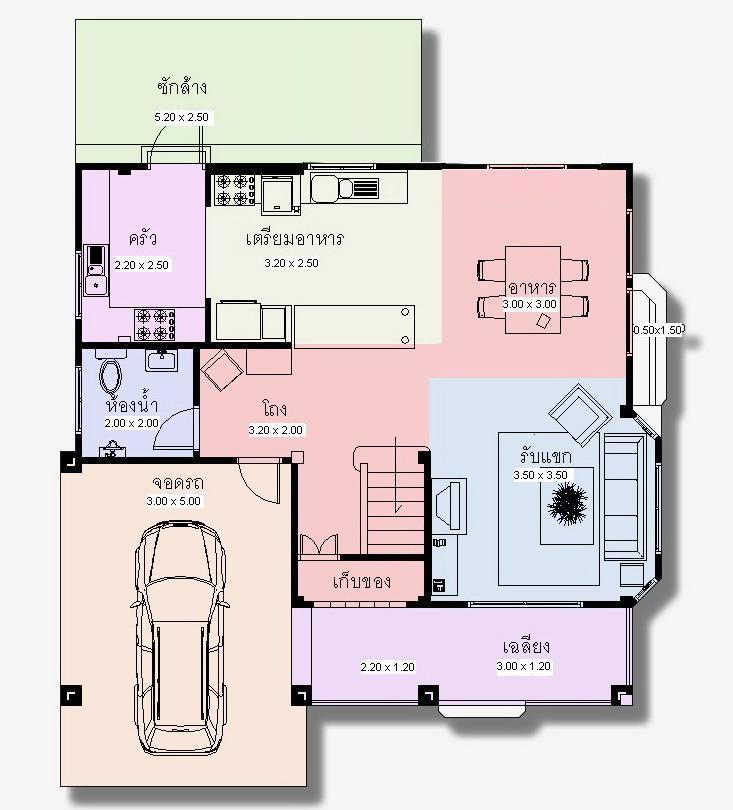 แปลนพื้นชั้นล่าง บ้านเดี่ยว 2 ชั้น จอดรถ 2 คัน baywindow