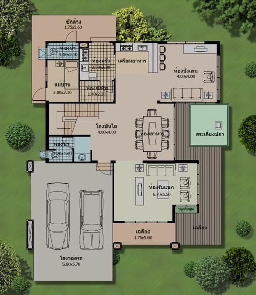 แปลนพื้นบ้านหรู 300 ตารางเมตร รับสร้างบ้าน