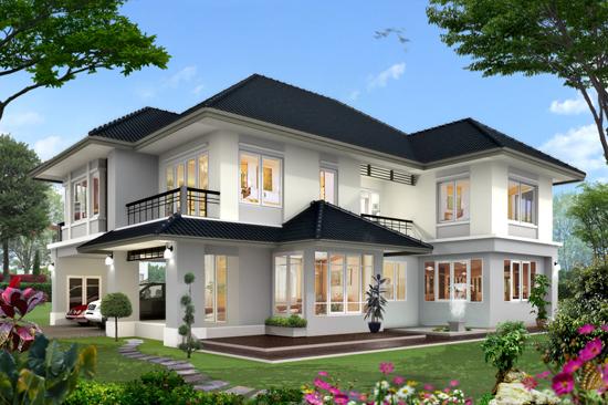 แบบบ้าน 2 ชั้น 4 ห้องนอน สระว่ายน้ำ 5 ล้าน รับสร้างบ้านหลังใหญ่