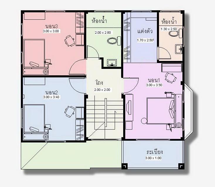 แปลนพื้นชั้น 2, 3 ห้องนอน, 2 ห้องน้ำ, ระเบียง อุ่นใจ บัวขาวs2