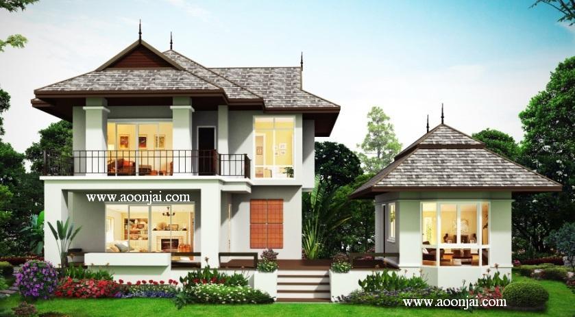 รับสร้างบ้าน แบบบ้านล้านนาประยุกต์ บ้านทรงไทยล้านนา อุ่นใจ บิลเดอร์ บ้านเชียงใหม่ บ้านเชียงราย Tropical Style house, Lanna Style