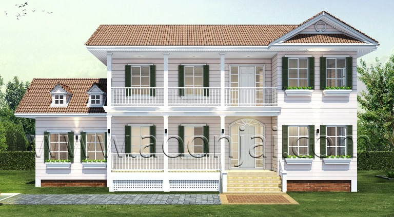 รับสร้างบ้าน แบบบ้านพักตากอากาศ colonial style โคโลเนียล แบบบ้าน 4-6 ล้าน