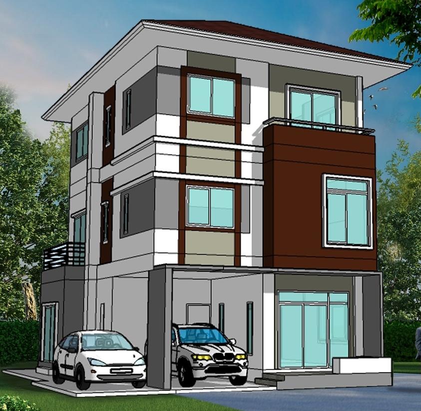 แบบบ้านโมเดิร์น 3 ชั้น รับสร้างบ้าน 3 ชั้น ราคา 3 - 4 ล้าน ราคาถูก ทาวน์โฮม อุ่นใจ บิลเดอร์ โฮมออฟฟิศ modern