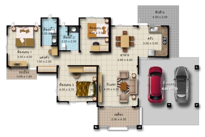 แบบบ้านชั้นเดียว บ้าน1ชั้น 3 นอน 2 จอดรถ รับสร้าบ้าน