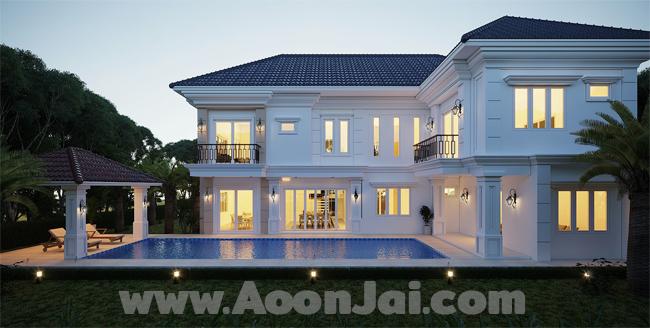 แบบบ้านหรู  แบบบ้าน LuxuryB  พร้อมสระว่ายน้ำ สุดหรู บริษัท อุ่่นใจ บิลเดอร์ จำกัด รับสร้างบ้านทั่วประเทศ
