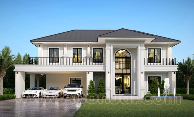 แบบบ้านหรู   พื้นที่ใช้สอย 302 ตารางเมตร วัสดุก่อสร้างดี เหนือคำบรรยาย บริษัท อุ่่นใจ บิลเดอร์ จำกัด รับสร้างบ้านทั่วประเทศ