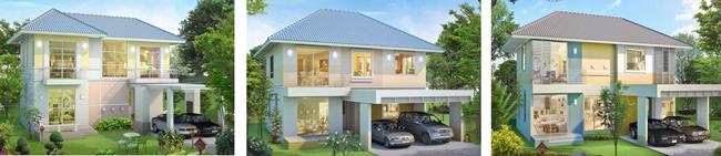 แบบบ้านสวย บ้านน่ารัก รับสร้างบ้าน 2 ชั้น จอดรถ 2 คัน