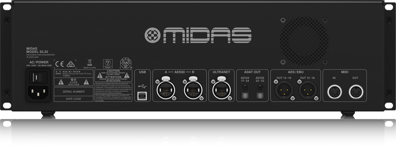 midas dl32 32 input 16 output stage box with 32 midas microphone preamplifiers ultranet and. Black Bedroom Furniture Sets. Home Design Ideas