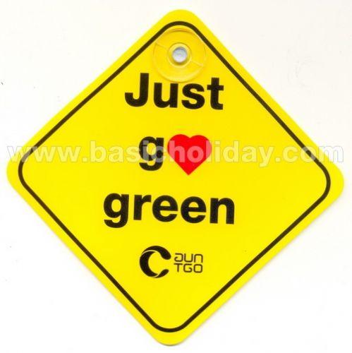 JUST GO GREEN จุ๊บติดรถ ป้ายติดรถยนต์ จุ๊บติดกระจกรถยนต์ จุ๊บ PVC จุ๊บติดกระจก พรีเมี่ยม จุ๊บติดกระจกพลาสติก