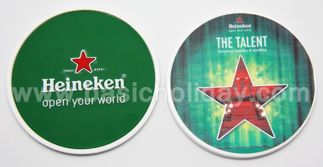 ยางรองแก้วหน้านูน ด้านหลังพิมพ์ภาพเหมือน-Heineken ที่รองแก้วยาง รับผลิตที่รองแก้ว รองแก้วยางหยอดพรีเมี่ยม แผ่นรองแก้ว ที่รองแก้วยางหยอด