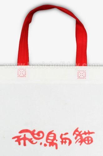 ถุงหิ้วผ้าสปันบอนด์สีขาว หูหิ้วสีแดง