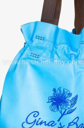 ถุงหิ้วผ้าสปันบอนด์หูรูดสีฟ้า-Gina bag