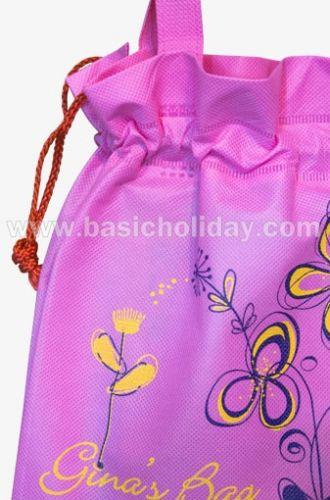 ถุงหิ้วผ้าสปันบอนด์หูรูดสีชมพู-Gina bag