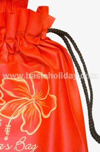 ถุงหิ้วผ้าสปันบอนด์หูรูดสีแดง-Gina bag