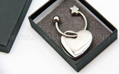 P 2173 พวงกุญแจโลหะ รูปหัวใจ