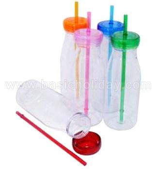 ขวดน้ำใส ขวดน้ำพลาสติก พร้อมหลอด สกรีนโลโก้ ของที่ระลึก ของพรีเมี่ยม สินค้าแจกงานต่างๆ