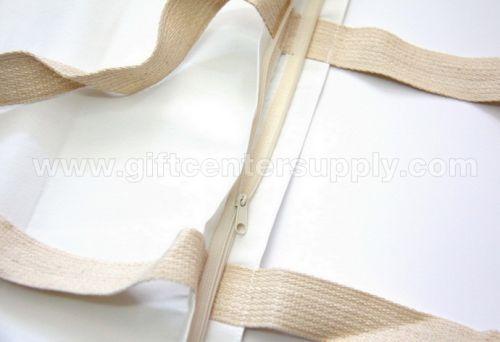 ถุงผ้าดิบ(ผ้าหนา) แบบซิป มีพับก้น