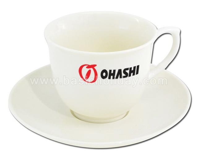 ชุดแก้วกาแฟพร้อมจานรอง แก้วกาแฟ แก้วเซรามิค สินค้าพรีเมี่ยม ของแจก ของพรีเมี่ยม ของชำร่วย แก้วมัค แก้วเซรามิคสกรีนโลโก้