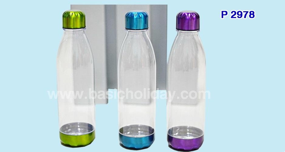 กระบอกน้ำพลาสติก 650 ml. ฝาด้านนอกสแตนเลส