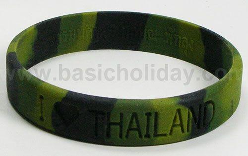 M 3187 กำไรข้อมือยางลายพราง - I love Thailand