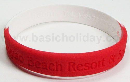 M 3188 กำไรข้อมือยางซิลิโคน - Bangtao Beach Red