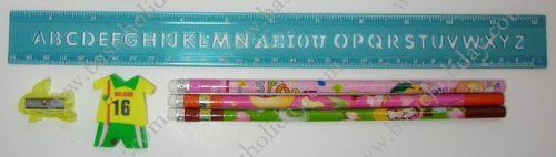 1083 ชุด ดินสอ 3 แท่ง+ไม้บรรทัดปรุabc+กบเหลา+ยางลบ