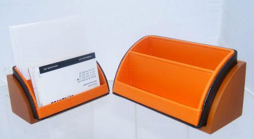 ของใช้บนโต๊ะทำงาน ทำจากไม้ วางนามบัตร กระดาษบันทึก กล่องเครื่องเขียน