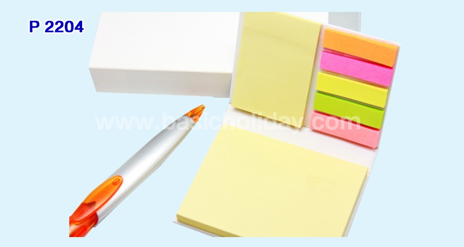ชุดกระดาษโน้ตและปากกาในกล่อง