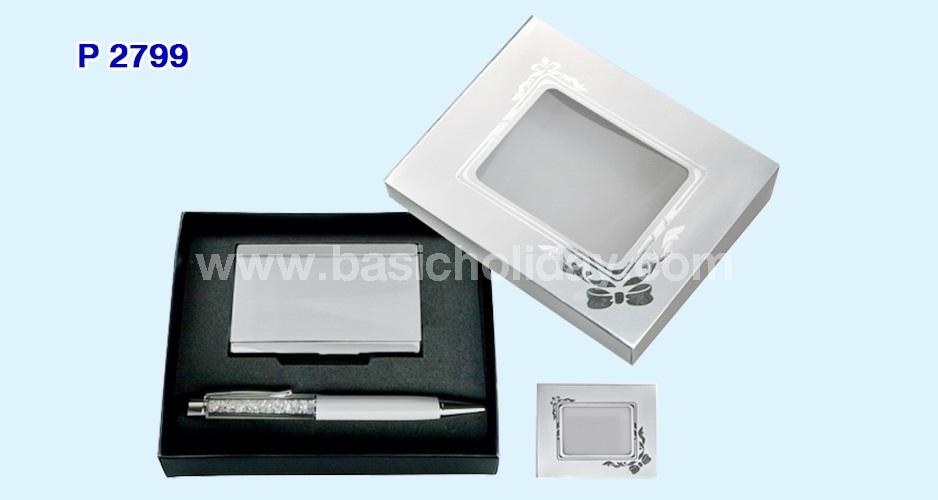ชุดกิ๊ฟเซ็ทตลับนามบัตรโลหะ+ปากกาคริสตัลสีขาว