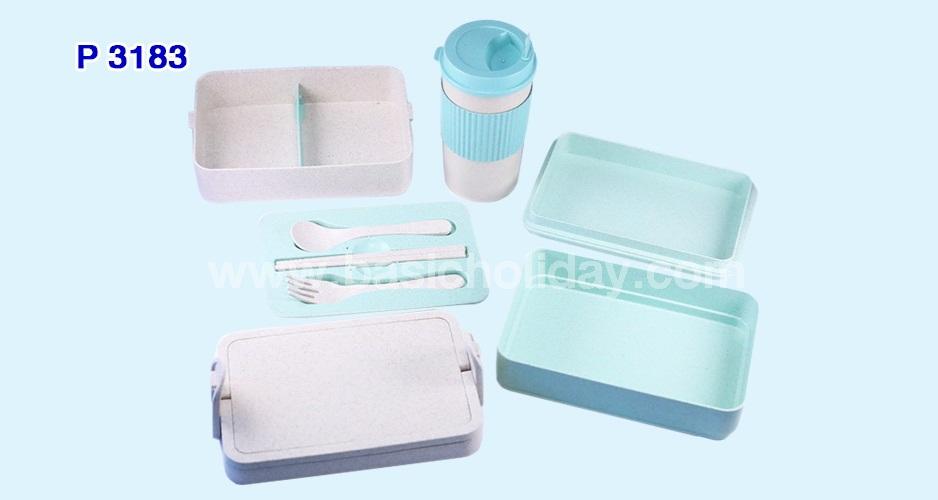 ชุดกล่องใส่อาหารและกระบอกน้ำ ECO+บรรจุในกล่อง