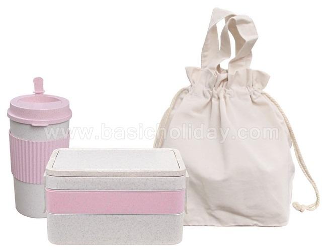กระบอกน้ำ กล่องใส่อาหาร กล่องเก็บอาหาร พร้อมถุงผ้า แก้วน้ำ ECO แก้วน้ำวัสดุธรรมชาติ ของขวัญ ของแจก สกรีนโลโก้