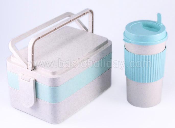 กล่องใส่อาหาร กล่องเก็บอาหาร พร้อมถุงผ้า แก้วน้ำ ECO แก้วน้ำวัสดุธรรมชาติ ของขวัญ Gfitset