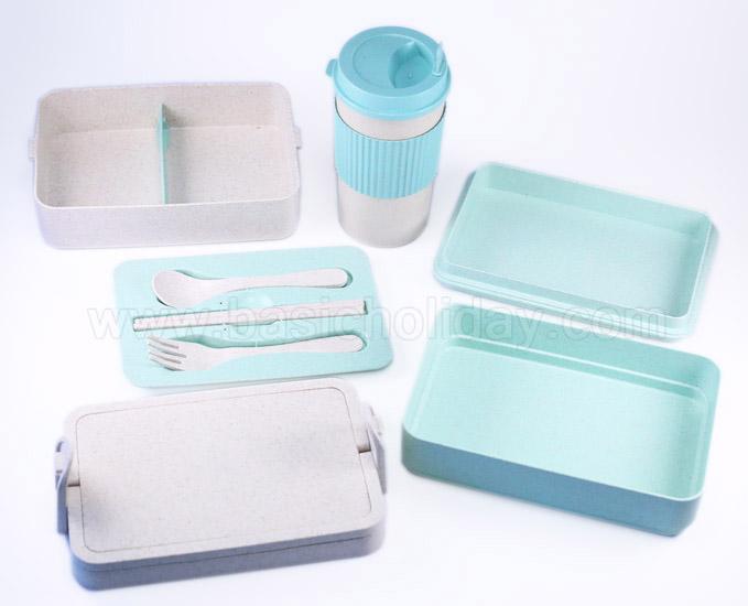 กล่องใส่อาหาร กล่องเก็บอาหาร พร้อมถุงผ้า แก้วน้ำ ECO แก้วน้ำวัสดุธรรมชาติ ของขวัญ Giftset
