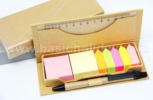 กระดาษโน้ตแบบ Post it+ปากกา+ไม้บรรทัด สินค้าพรีเมียม ของที่ระลึก ของชำร่วย ของแจก ของแถม สั่งทำ สั่งผลิต