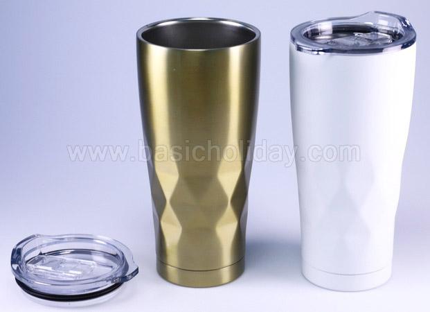 กระติกน้ำ แก้วสแตนเลสพรีเมี่ยม ลายเพชร แก้วสแตนเลส กระบอกน้ำสแตนเลส พรีเมี่ยม สกรีนโลโก้ฟรี