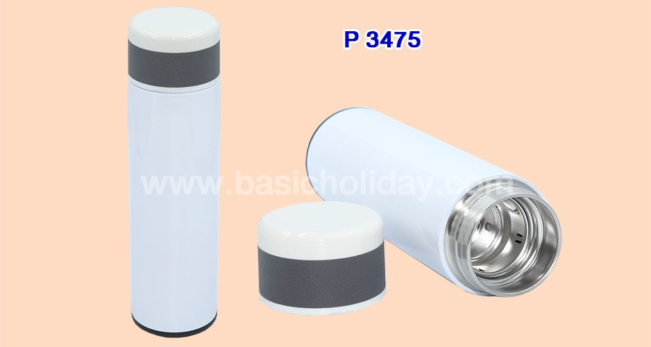 P 3475 กระบอกน้ำสแตนเลส ขนาด 600 ml. (เก็บอุณหภูมิร้อนเย็น 6-8 ชม.)