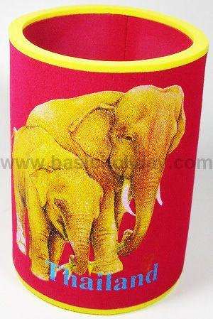 M 3203 ยางหุ้มกระป๋องเบียร์-ช้างไทย ถ้วยยางเก็บความเย็น แก้วยางเก็บความเย็น ถ้วยโฟมสวมขวดเบียร์เก็บความเย็น