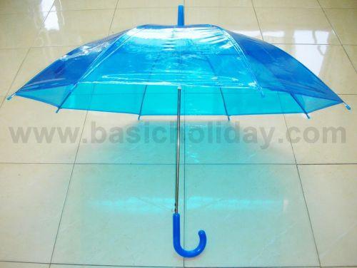 P1737-016-1 ร่ม 22 นิ้ว แบบใส พลาสติก PVC ออโต้ คละ 6 สี