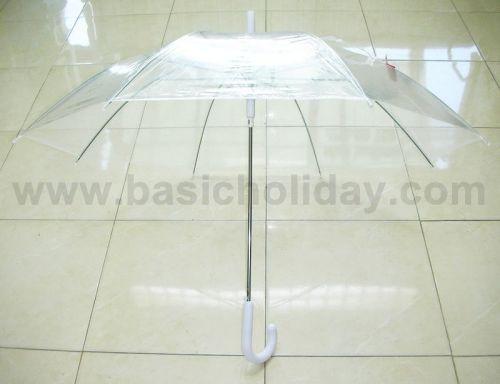 P1737-016-2 ร่ม 22 นิ้ว แบบใส พลาสติก PVC ออโต้ คละ 6 สี