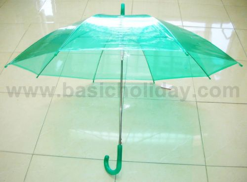 P1737-016-5 ร่ม 22 นิ้ว แบบใส พลาสติก PVC ออโต้ คละ 6 สี