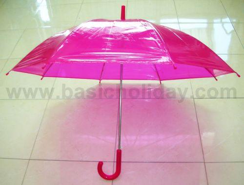 P1737-016-6 ร่ม 22 นิ้ว แบบใส พลาสติก PVC ออโต้ คละ 6 สี