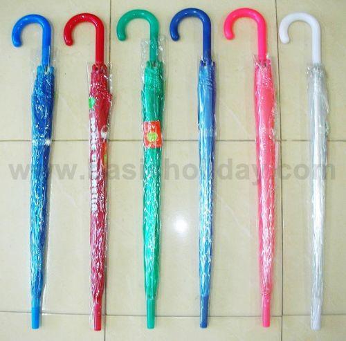 P1737-016-7 ร่ม 22 นิ้ว แบบใส พลาสติก PVC ออโต้ คละ 6 สี