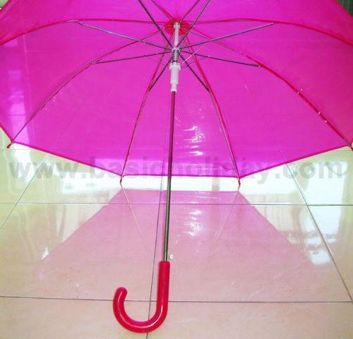 P1737-016 ร่ม 22 นิ้ว แบบใส พลาสติก PVC ออโต้ คละ 6 สี