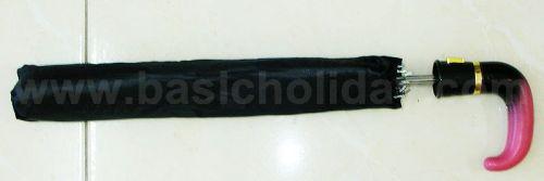P 1746-208 ร่มพับ 2 ตอน สีดำ ออโต้