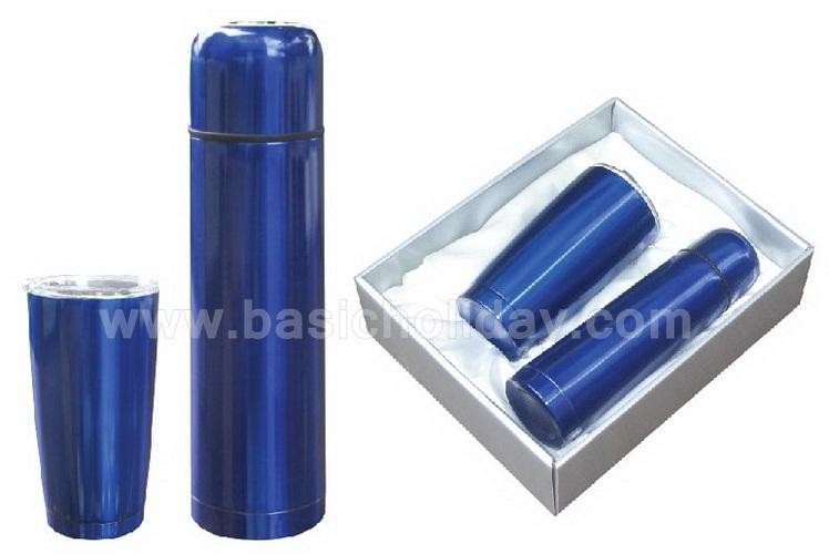 ชุดกิ๊บเซ๊ท Gift Set สีน้ำเงิน กระติกน้ำ แก้วสองใบ สินค้าที่ระลึก สินค้าส่งเสริมการขาย พรีเมียม ของขวัญ สกรีน